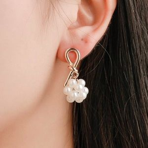 Any 2/$20! Gold Pearl Cluster Drop Earrings